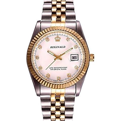 downj stile da uomo in acciaio inox bicolore braccialetto uomini orologio al quarzo con quadrante bianco - Seiko Moon Watch