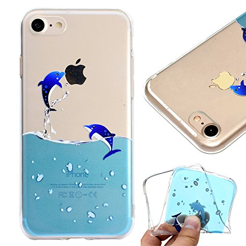 Custodia per iPhone 6S Plus,Cover per iPhone 6 Plus,Leeook Carina Creativo Divertente Interessante Panda Orso Design Invisibile Ultra Thin Sottile Flessibile Morbida Silicone Gel Gomma TPU Anti-Graffi Delfino Acqua