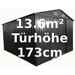 Gartenhaus Geräteschuppen 13m² 3x4,5m aus verzinktem Stahlblech Metall grau 'mit großer Türe' von AS-S