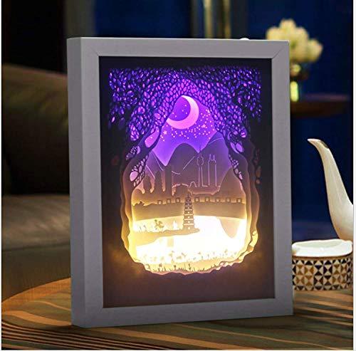 Bau Bau Kreative Papier Schnitzen Lampe 3D Persönlichkeit Nachtlicht Führte Geschenk Nachtlicht Wohnzimmer Schlafzimmer Nachttischlampe, Weißer Rahmen (Weiße Bau Papier)