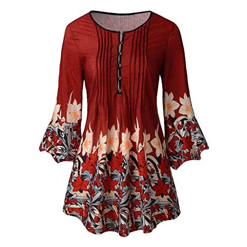 SHINEHUA Bluse Sommer Herbst Damen Elegant Vintage Blumenmuster T-Shirt Top 3/4 ärmel V-Ausschnitt Oberteile Casual Tunika Tops Strandtop Lose Langarmshirt Hemdbluse Blusenshirts