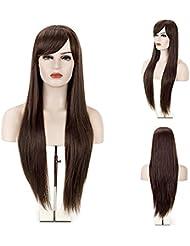MelodySusie® Perruque pour Femme Longue Droite avec Frange de Côté Brun Foncé + Filet à Cheveux + Peigne Anti-statique