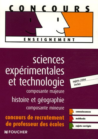 SCIENCES EXPERIMENTALES MAJEURE HIST-GEO  (Ancienne dition)