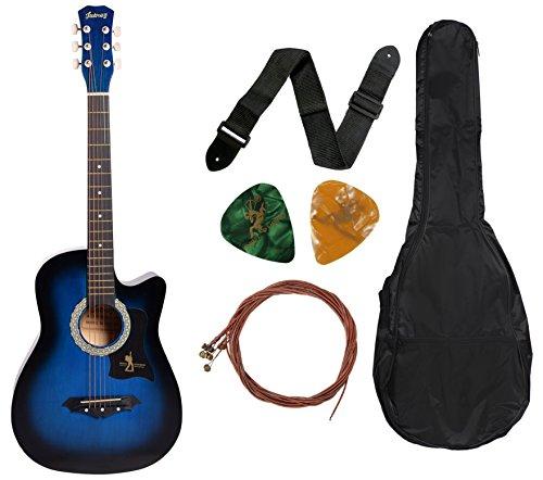 Juarez JRZ38C 6 Strings Acoustic Guitar 38 Inch Cutaway, Right Handed, TBS Transparent Blue Sunburst with Bag, Strings, Picks and Strap