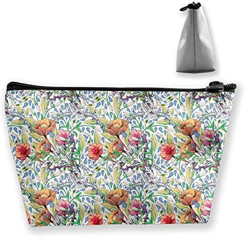borsa per trucco borsa per la conservazione trapezoidale foglie di fiori pianta natura viaggi borsa cosmetica borse per tolietria con cerniera