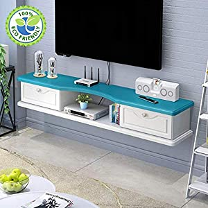 AGYE Wood Floating TV Stand Cabinet, TV Cabinet For Living Room,TV Unit Storage Console,TV Cabinet With Two Shelves,for Living Room,Bedroom,Blue-140x24x18cm   13