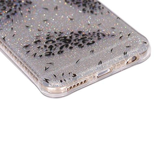 Custodia iPhone 6, ISAKEN Cover per Apple iPhone 6 (4.7) [TPU Shock-Absorption] - Glitter Bling Scintille Argento Colorate Pattern Design Custodia Case Ultra Sottile TPU Morbido Protettiva Cassa Bump Puntini neri