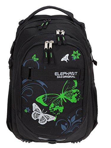 ELEPHANT Schulrucksack Hero Signature Rucksack Motiv 12679 (Butterfly Black Green)