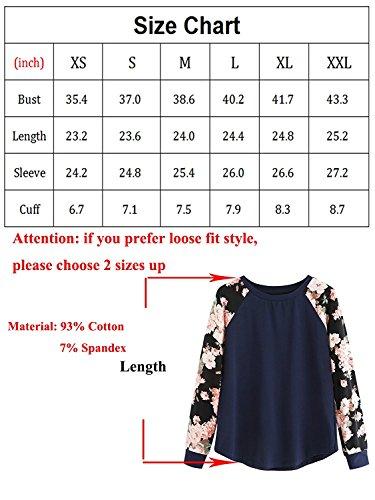 Saoye Fashion T-Shirt Donna Autunno Manica Lunga Eleganti Vintage Unico Maglietta Top Stampa Fiori Basic Ragazze Rotondo Collo Giuntura Casual Moda Magliette Blusa Camicia Blu