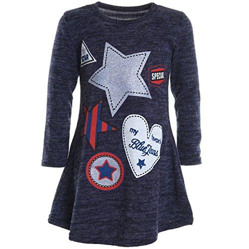 BEZLIT Mädchen Extra Strick Pullover Shirt Long Bluse Langarm Sweatshirt Shirt 20926 Blau Größe 164