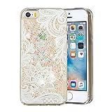 HopMore Compatibile con Cover iPhone 5S / SE / 5 Silicone Morbido Brillantini 3D Trasparente con Disegni Custodia Morbide Trasparenti Antiurto Brillante Glitter Case Bumper Protettiva - Fiore Bianco