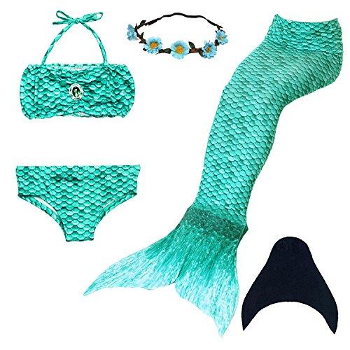 UrbanDesign Coda Di Sirena Per Bambine Con Le Pinne Per Nuotare (9-10 anni, Verde)
