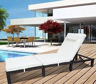 Stunning Brown Rattan Sun Lounger Recliner Bed with 6cm Cushions Made from Fully Durable Weatherproof PE Rattan - Great Addition to any Garden and Can Be Left Outdoors all Year Round.