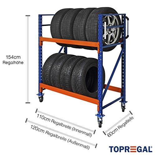 Reifenregal/Reifenwagen/Felgenwagen fahrbar 120cm breit, 154cm hoch, 60cm tief mit 2 Ebenen
