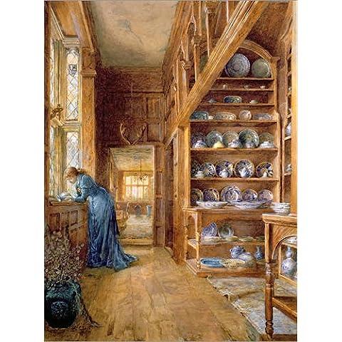 Stampa su tela 30 x 40 cm: Interior of a panelled house with a collection of Imari and Blue and White Porcelain di Ellen Clacy / Bridgeman Images - poster pronti, foto su telaio, foto su vera tela,...