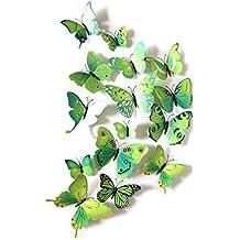 12 Unidades Pegatinas de pared vinilo adhesivo decorativo para cuartos, dormitorio,cocina, baño... mariposas de pared efecto 3D color Verde de OPEN BUY