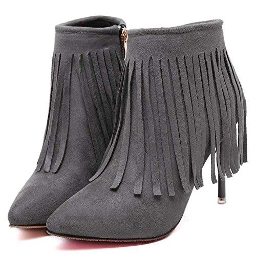 Stivaletti in pelle di tacco delle donne Stivali di caviglia 9.5cm Scarpin punta punta Seude Scarpe da sposa Scarpe da sposa Scarpe da polso Scarpe da ginnastica Eu Size 34-40 ( Color : Dark gray , Size : 40 )
