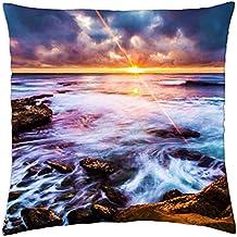 "La Jolla Coastline - Throw Pillow Cover Case (18"" x 18"")"