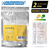 wisedry 50 Grammes[4 Paquets] Déshydratant de Paquets de Gel de Silice réutilisable avec Micro Onde réactivé Rapidement en 2 Minutes absorbeur d humidite Rechargeable(Conforme à la FDA)