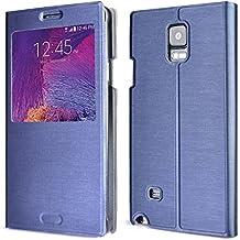 """Arbalest® Funda Galaxy Note 4 , Cepillado Textura Flip View Leather Cover Elegante Funda de Cuero Para el Samsung Galaxy Note 4 SM-N910F - Smartphone (14,48 cm (5.7"""") ,Azul Oscuro"""