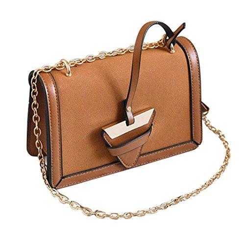 bbdd2db708391 BZLine® Frauen Leder Handtasche kleine Messenger Schulter Square Vintage  Taschen Braun