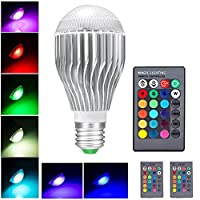 LifeBee 10W E27 RGB LED Bulb, Dimmable 16 Colour Choices, Remote Controller(included), Mood Lighting, Edison Screw LED RGB Light Bulbs