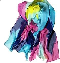 Bufandas para Mujer,Xinan Estilo Tinta China Chal de Gasa Bufandas Grande Moda (Azul
