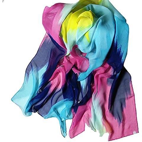 Bufandas para Mujer,Xinan Estilo Tinta China Chal de Gasa Bufandas Grande Moda (Azul)
