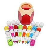 Abcsea 10PCS Penne A Sfera Di Vitamina Pill Con 1pcs Portapenne, 10pcs Penna A Sfera Regalo Retrattile Con Faccia Sorridente Emozione Cartone Animato Carino (colori Casuali), Contenitore Penna 1pcs (Rosso)