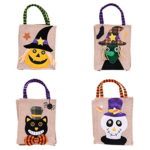 (VJUKUBWINE Halloween Portable Burlap Stoffbeutel Ghost Festival Kinderdekoration Requisiten Spielzeug Dress up Accessoires Kürbis Beutel Geschenktasche Candy Bag Requisiten Tasche 4 Pack)