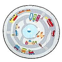 B Blesiya Kids Game Toy Play Mat Crawling Floor Mat Rugs, Cute Baby Carpet Blanket, 60inches, Round, Foldable Reversible, Toy Storage Bags Playmat Picnic Mat