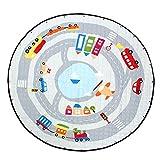 B Blesiya Weiche Runde Teppich Bodenteppich Kinderteppich Bodenmatte Spielmatte Rutschfest Kinderzimmer Wohnzimmer - Autos in der Stadt