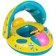 Flotador para bebé con asiento,respaldo,techo del sol,barca bebé de piscina para 1-3 Años de Edad