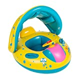 Best Juguetes para niños de 1 años - Flotador para bebé con asiento,respaldo,techo del sol,barca bebé Review