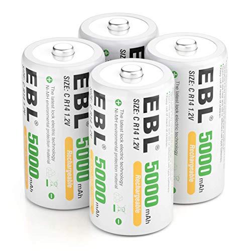EBL C Batterie Ricaricabili ad Alta Capacità da 5000mAh 1.2V Ni-MH,1200 Cicli con Auto-Scarica Bassa,Confezione da 4 pezz