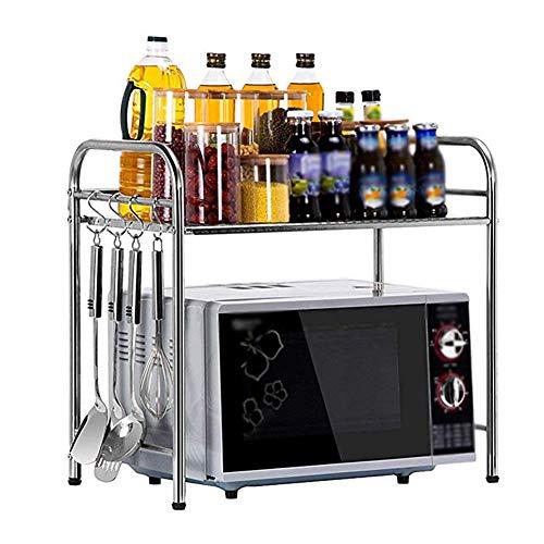 JBFZDS Küchen-Mikrowellenherd-Gestell, Edelstahl-Küchen-Versorgungsmaterial-Speicher-Regale Ofengestell-Küchenreis-Kochergestell-Gewürzgestell, 50 × 35 × 53cm