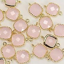 4piezas de hielo Rosa Cuadrado enmarcado vidrio bazel 16K sobre latón chapado en oro cuentas colgantes conectores para pendiente Findings Jewelry Making suministros–annielov Jewelry Making Supplies