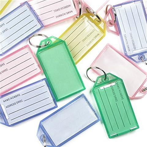 Sungpunet 40pcs Plastique Code étiquettes Porte-clés avec étiquette Assortiment de couleurs Fournitures de bureau
