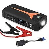 Floureon Tragbare Auto Starthilfe Autobatterie Car Jump Starter 16800mAh 500A Mit Starthilfekabel USB mit LED Taschenlampe
