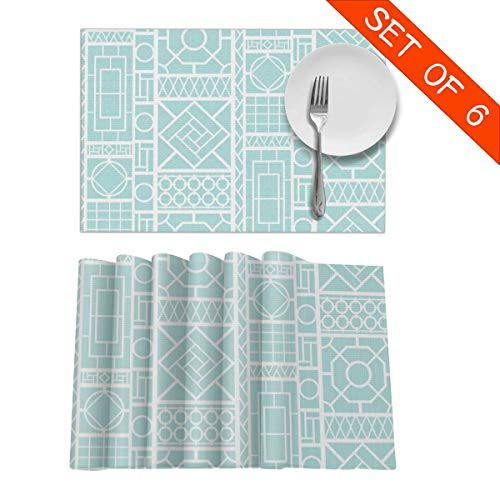 BigHappyShop Placemats Trellis On uBEE Heat Insulation Non Slip Plastic Kitchen Stain Resistant Placemat for Dining Table Set of 6 (Ubee)