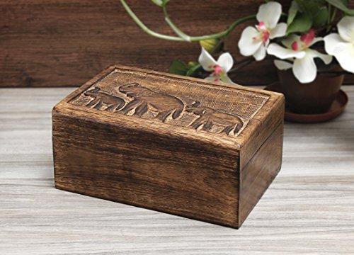 Store Indya, Hölzern Andenken Lager Schmuckstück Schmuckkästchen Veranstalter Handgefertigte Mehrzweck Utility Box mit Messing Design (Design 1) -