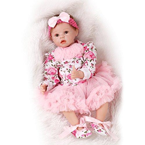 NPKDOLL Reborn Baby Puppe Weich-Simulation Silikon-Vinyl 22inch 55cm Magnetisch Mund lebensechte nette Kinder Spielzeug-Rosa-Blumen-Kleid mit Acrylaugen A1DE