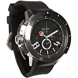 Welder Men's Quartz Watch with Black Dial Chronograph Display and Black Rubber Strap K44-301