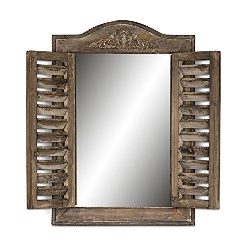 Wandspiegel B x H x T: 32x45x4cm Holz Braun Fenster Shabby Chic Vintage Landhausstil Spiegel (Vintage Fenster)