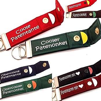 Patenonkel oder Patentante Geschenk PERSONALISIERBAR Schlüsselanhänger mit Chip für Paten zur Taufe Kommunion Konfirmation Geburt Schlüsselband mit Beschriftung zur Auswahl,1 Stück