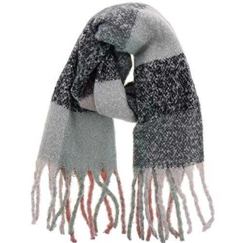 Fashiongen - Bufanda de lana mujer, CELIA - Gris-Negro