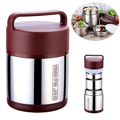 Vakuum-Isolier-Brotdose Food Carrier Bento Box Isolier-Edelstahl-Lunch-Container halten Warm für 12 Stunden mit Folding Löffel, 1,6 L von AumoToo