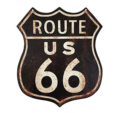 Route 66 (zeitzone Blechschild Route 66 US Roadsign Nostalgie Vintage Straßenschild 35x30cm)