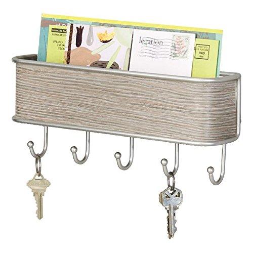 mDesign Schlüsselbrett mit Ablage - vielseitiges Schlüsselboard aus mattem Metall und echtem Holz - mit Briefablage für Post oder auch Handys