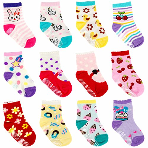 Ateid Baby Socken Anti-Rutsch Stoppersocken 12er-Pack - Prinzessin Söckchen Set
